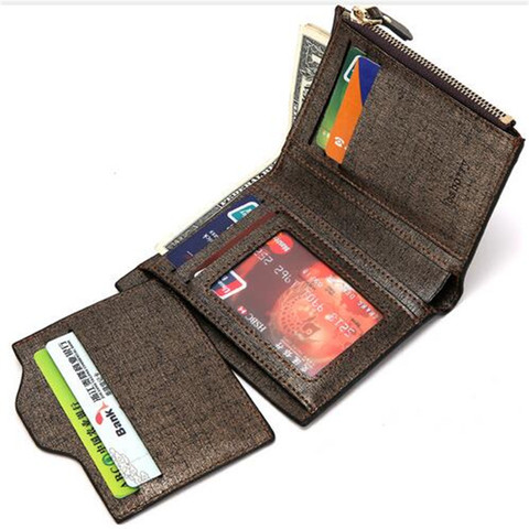 2019 Men Wallet High Quality PU Leather Card Holder Wallet Male Leather Coin Purse With Zipper Short Bifold Wallets for men NEW Multan
