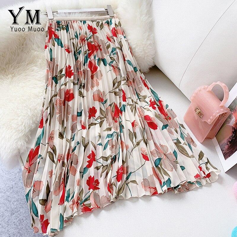 YuooMuoo New 2019 Women Chiffon Skirt Summer Flower Elegant Pleated Skirt Ladies Vintage High Waist Long Skirts