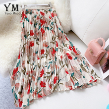 YuooMuoo New 2020 Women Chiffon Skirt Summer Flower Elegant Pleated Skirt Ladies Vintage High Waist Long Skirts