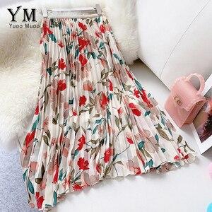 Image 1 - YuooMuoo New 2020 Women Chiffon Skirt Summer Flower Elegant Pleated Skirt Ladies Vintage High Waist Long Skirts