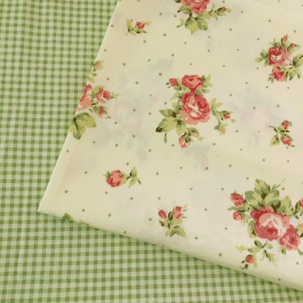 Green Lattice Cotton Fabric Diy Textiles Sewing Patchwork Fabric For Bags Clothes Bedding 50x160cm Durable In Use Apparel Sewing & Fabric