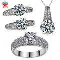 Галактика мода свадебные украшения комплект для женщин-белый золото заполненные сердца и стрелы CZ бриллиантовое колье кольца комплекты YS001