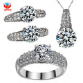 GALAXY Fashion Wedding Jewelry Sets For Women White Gold Filled Hearts and Arrows CZ Diamond Necklace Earrings Ring Sets YS001