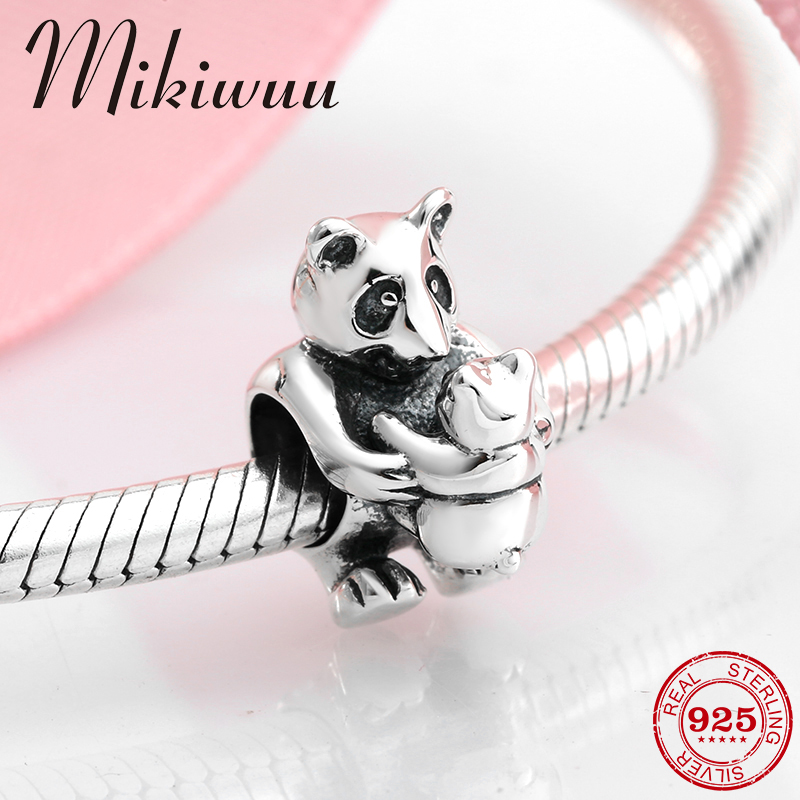 925 Sterling Silver DIY Accessories Sweet Family Mother And Baby Bear Beads Jewelry Making Fit Original Pandora Charm Bracelet