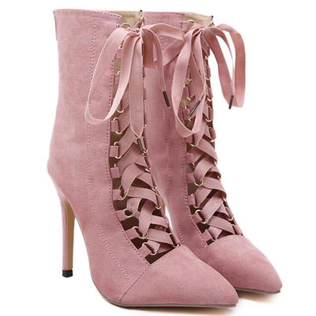 Noche Up Vestido Cm Rosa 12 Lace De Partido Estrecha Zapatos Altos Tacones Verano 2017 Black Boda Punta pink Negro La Sandalias Mujeres Moda Señora Eq8xaCCUw