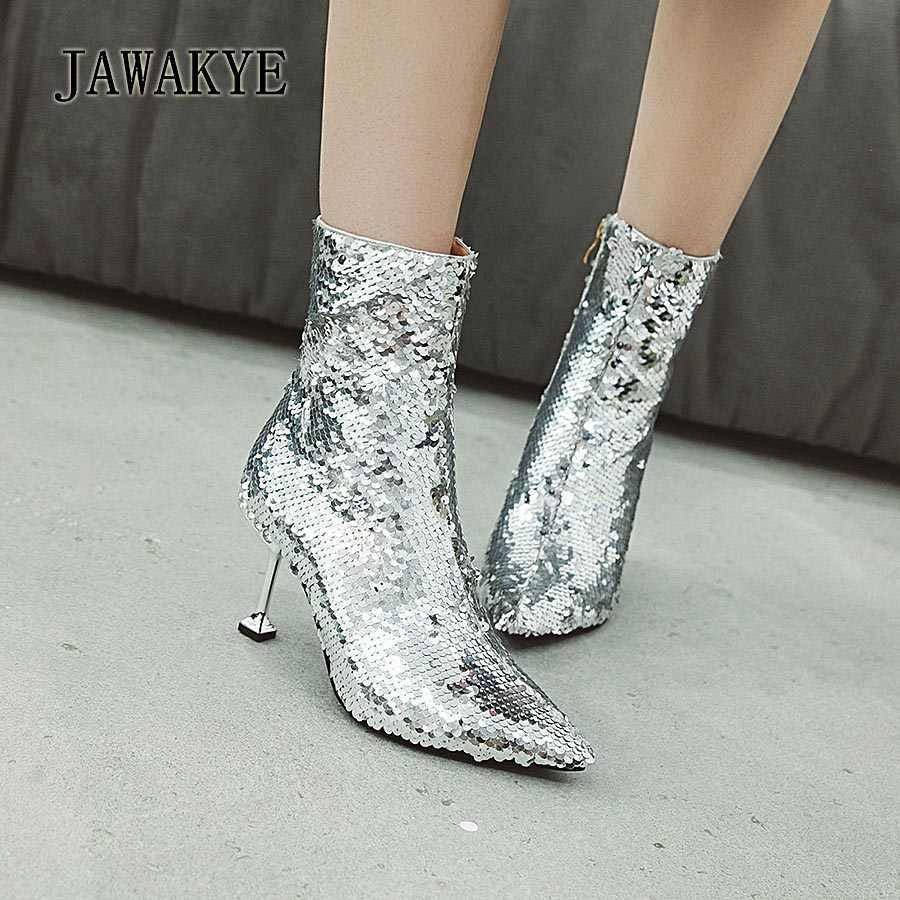 Yeni Seksi Renkli Squines Kadın çizmeler Sivri Burun Metal Ince yüksek topuklu yarım çizmeler kadınlar için Bling parti ayakkabıları zapatos mujer