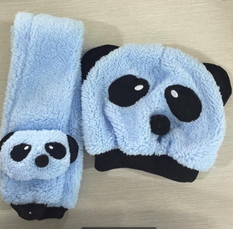 MISSKY ACEFAST Children Hat 100% Wool Hat+Scarf Two Piece Set Panda Children Animal Cap