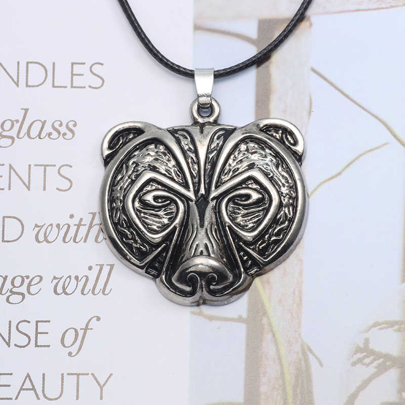 Hot Nordic Mythology Norse Viking Bear Amulet Pendant Necklace Animal Bear Head Talisman Choker Necklaces Vintage Jewelry Colar