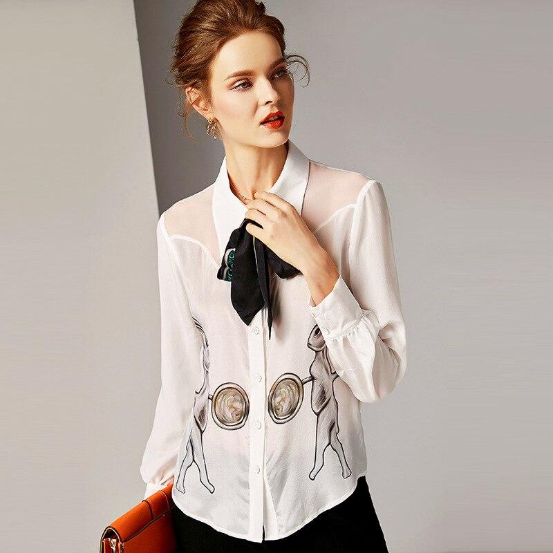 Vers Arc Poitrine shirt T Printemps Blouse Soie Manches 2019 Animal Tournent Femmes Imprimé À 100 Blanc Bas Le Été Longues Unique Nouveau q7IaSw