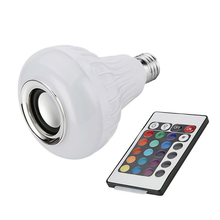 New E27 Wireless Bluetooth Speaker 12W RGB Bulb LED Lamp 110V 220V Smart Led Light Music Player Audio Remote Control e27 smart led bulb lamp light 5w 2700 6500k 110v 220v bluetooth app remote control adjustable brightness and color temperature