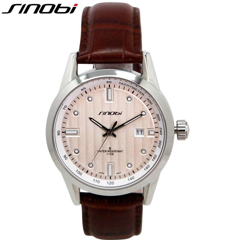 96d71d3af618a Sinobi الكامل التقويم حزام جلد طبيعي للرجال ساعات للماء 5 atm reloj  masculino الأعمال متعددة الوظائف الرجال الساعات