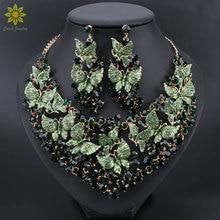 高級グリーンネックレスイヤリングセット蝶のためのためのパーティーインドコスチュームジュエリー