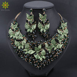 Image 1 - Luxury Green Necklace Earrings Set Butterfly Jewelry Sets for Brides Gift for Women Wedding Party Indian Costume Jewellery