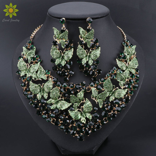 Luxury Green Necklace Earrings Set Butterfly Jewelry Sets for Brides Gift for Women Wedding Party Indian Costume Jewellery