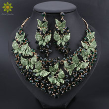 Verde di lusso Degli Orecchini Della Collana Set Farfalla Set di Gioielli per Le Spose Regalo per le Donne Del Partito di Nozze Costume Indiano Gioielli