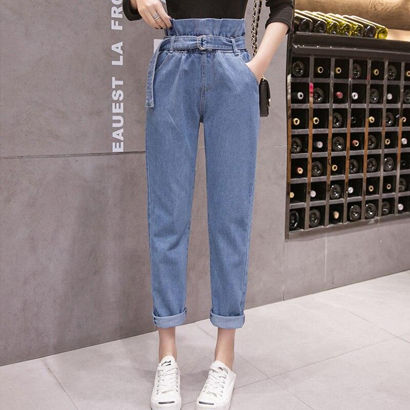 Women   Jeans   Denim Pants 2019 Spring Summer Fashion Female Vintage Loose Casual Elastic Waist   Jeans   Demin Straight Pant Trousers