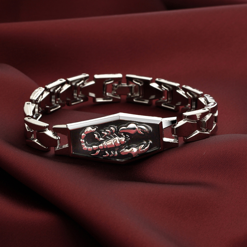 Bracelets Men Bangles Wristband Charms Pulsera Scorpion Punk Stainless-Steel Hombrejewelry