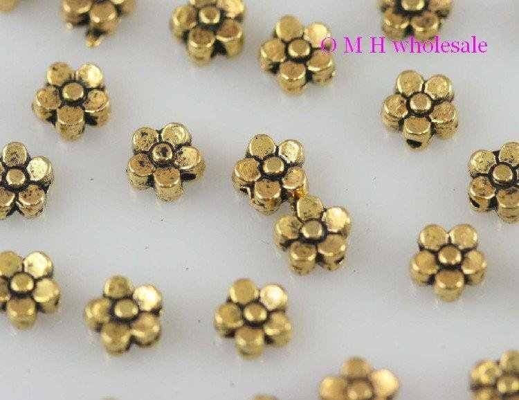 OMH Wholesale Kapal Emas Warna Perak Bunga Spacer Beads Perhiasan Manik-manik Logam 6X4Mm ZL525