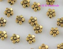 OMH Wholesale Kapal Emas Warna Perak Bunga Spacer Beads Perhiasan Manik-manik Logam 6X4Mm ZL525(China)