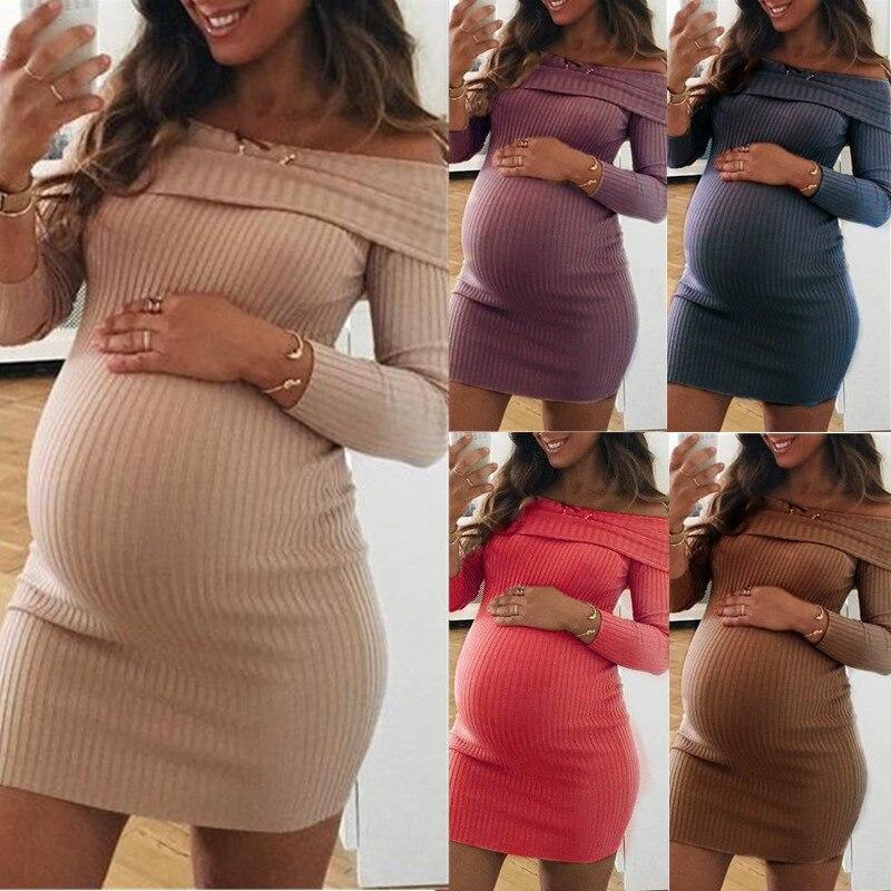 Maternity Gown Dresses Pregnancy Clothes Women Dress Elegant Maternal Pure Color Shoulder Dress Vestido Gravida Femme Enceinte