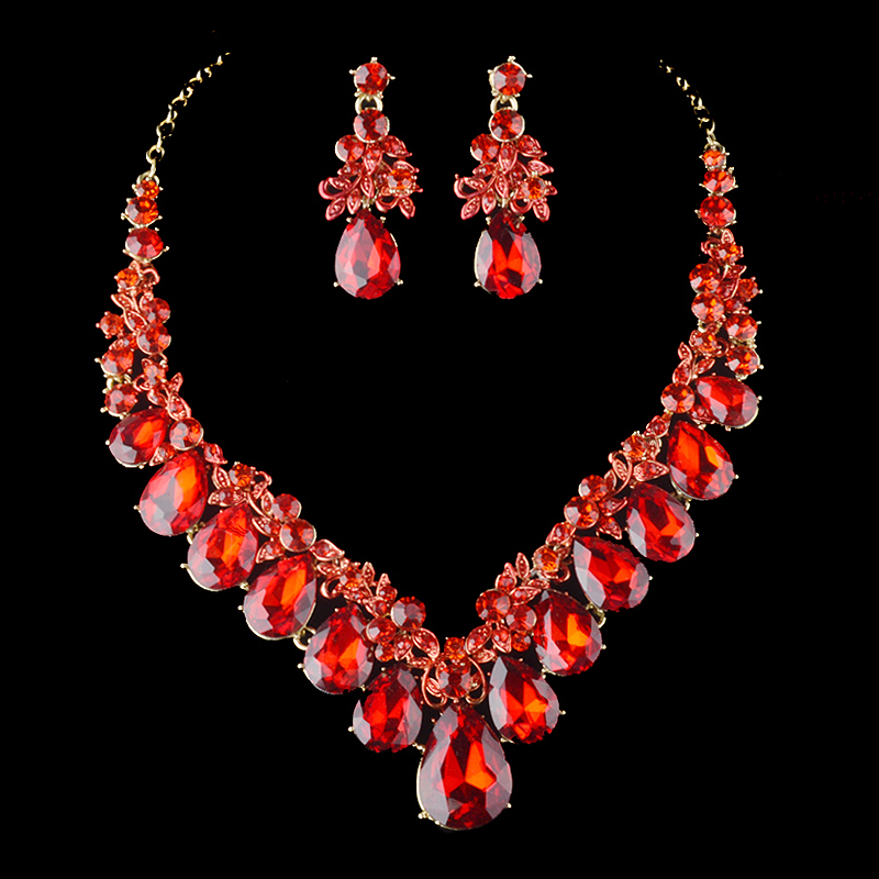 Fashion Golden Plated Red Crystal Necklace Earrings Bridal Jewelry Sets For Brides Wedding Party Prom Decoration Gift jewelry