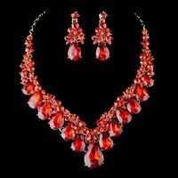 Moda Banhado A Ouro Cristal Vermelho Brincos Colar Nupcial Conjuntos de Jóias Para Noivas jóias de Presente da Decoração da Festa de Casamento do baile de Finalistas