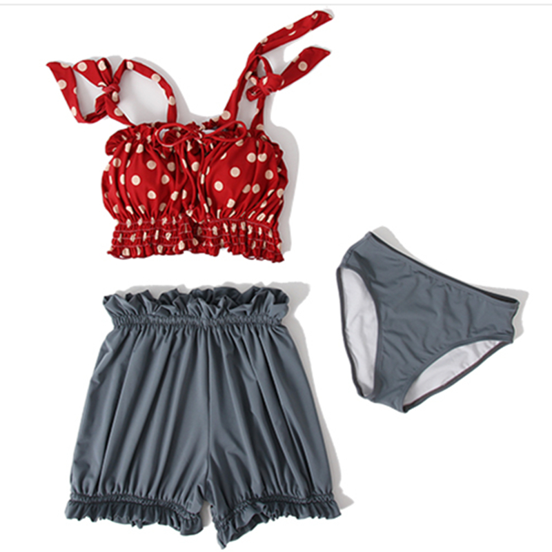 Plus Size Swimwear Split Swimsuit Women's Three Piece Set Conservative Display Thin Wave Point Hot Spring Holiday Bathing Suit.