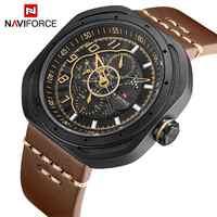 NAVIFORCE Watch Men Leather 3Bar Waterproof Fashion Sport Militray Clock Bracelet 2019 Relogio Wristwatch Male Watches Brown New