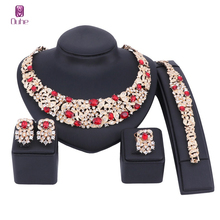 Novias Cristal de Bohemia Color Plata Del Collar Del Rhinestone Set Joyería de La Boda Conjuntos de Joyas de Oro para Las Mujeres Nupcial Fiesta de Aniversario