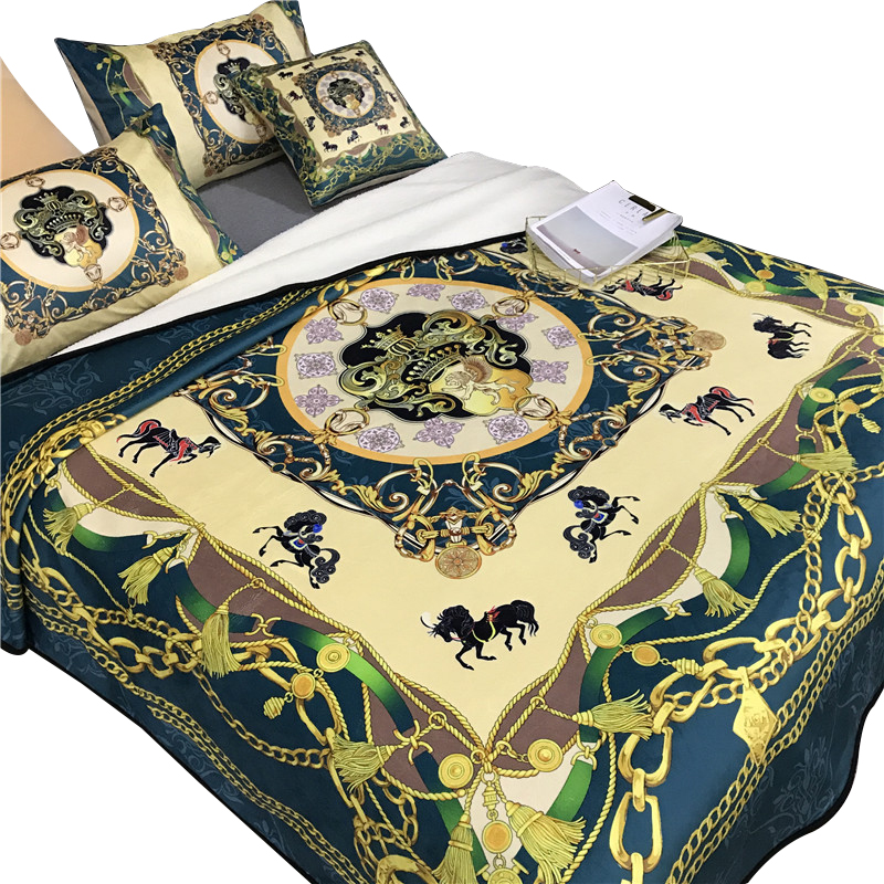 Warm Flannel Throws Sofa Bed Blanket Bedspread Soft Fur Blanket Cushion Cover