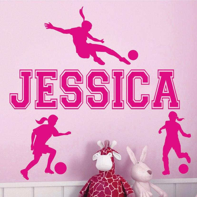 sports girl soccer custom name vinyl wall sticker home art decor