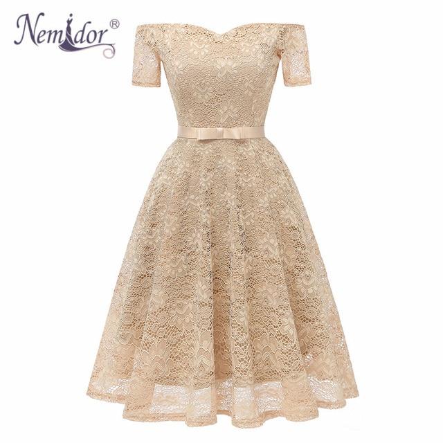 Nemidor 2019 Women Vintage Short Sleeve Bow Summer Swing A-line Dress Sexy Slash Neck Patchwork Midi Party Lace Dress