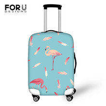 FORUDESIGNS Cartoon Luggage Cover Flamingos Leather Prints Pattern Travel Accessories Only Fashion Design Suitcase