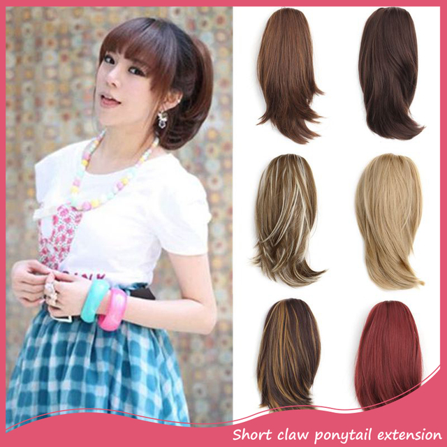 Synthetic Pony Tail Hair Extensions Natural 12inch Short Straight