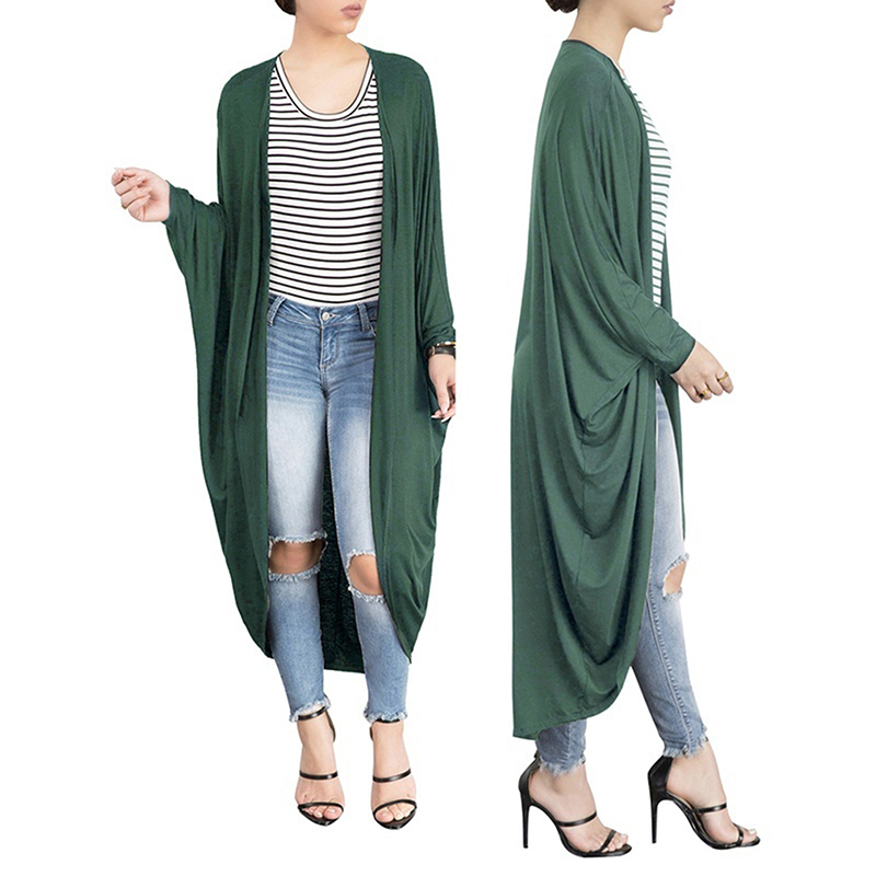 Bigsweety women's autumn solid batwing sleeve cardigan coat   trench   coat female elegant casual loose long windbreaker
