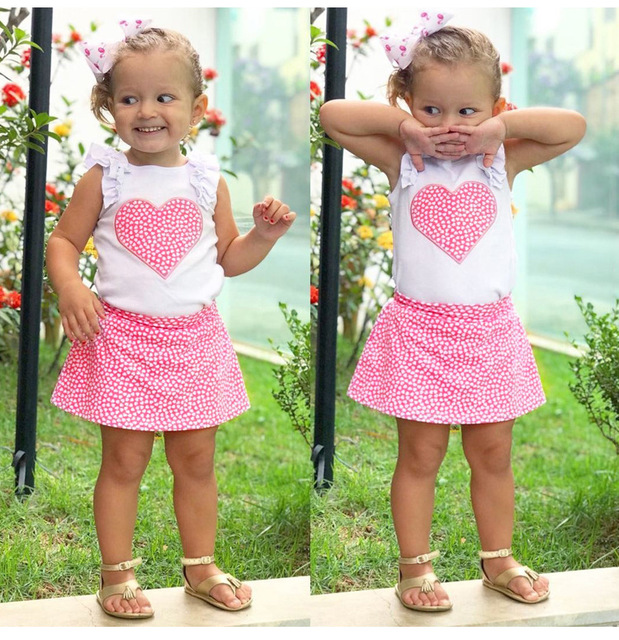 c922eb689b34 2pcs Set Newborn Baby Girls Love Heart Vest Top + Short Dress Summer ...
