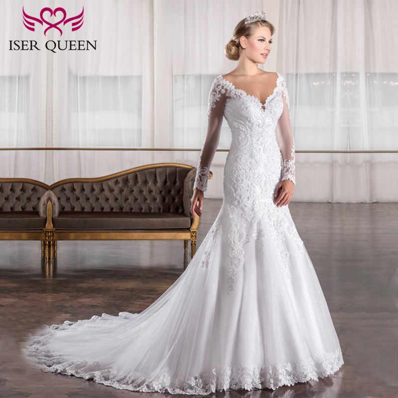 9bf82b3304b Элегантное свадебное платье русалки с длинными рукавами и кружевной  аппликацией белого цвета