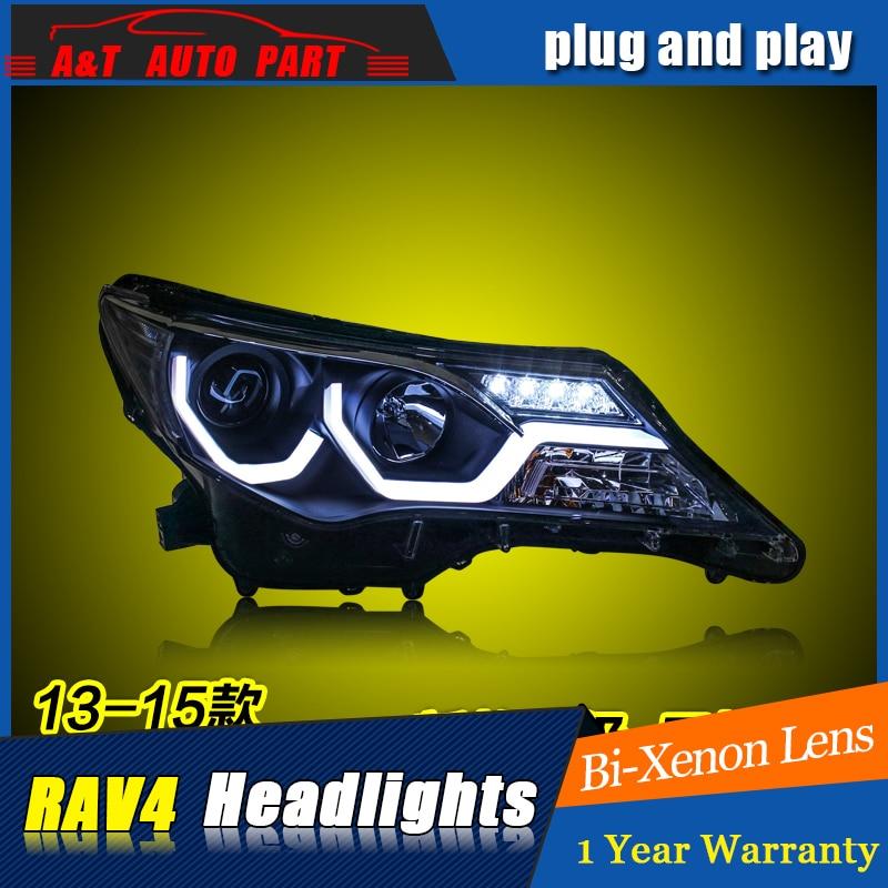 Car Styling For TOYOTA RAV4 headlight assembly 2013-15 For RAV4 LED head lamp Angel eye led DRL front light h7 with hid kit 2pcs