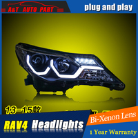Car Styling For TOYOTA RAV4 headlight assembly 2013 15 For RAV4 LED head lamp Angel eye led DRL front light h7 with hid kit 2pcs