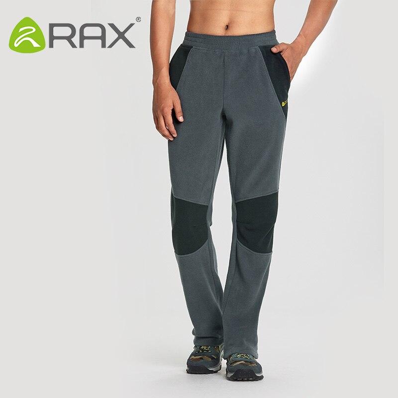 Rax 2018 Thermal Fleece Hiking Pants For Men Women Winter Outdoor Sports Warm Fleece Trousers Fleece Camping Pants 54-4F089