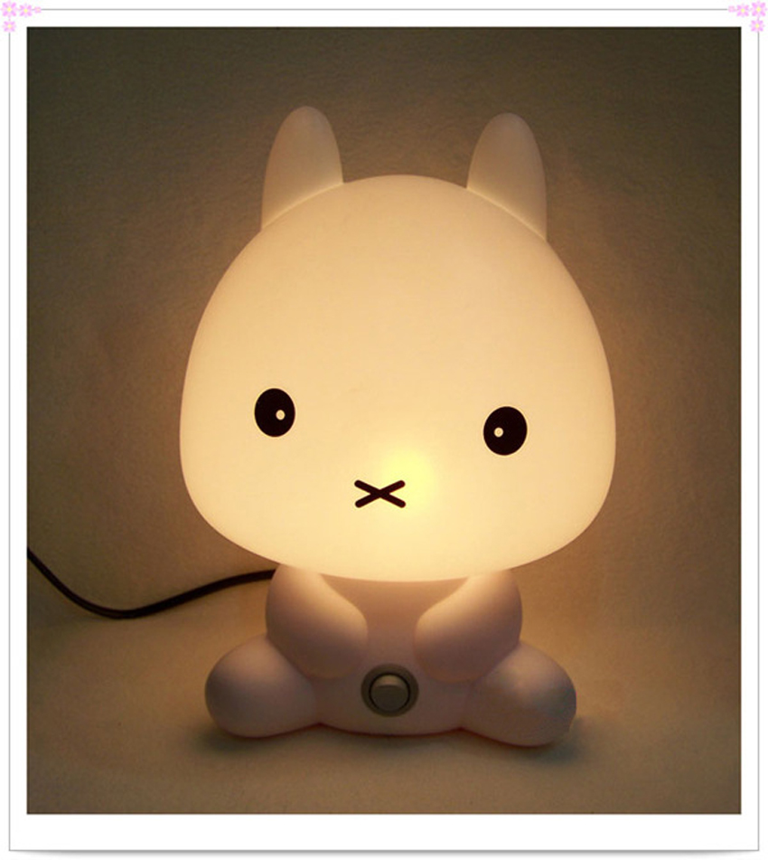 Baby room night light rabbit cartoon kids sleeping bed for Kids room night light