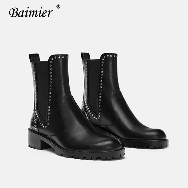 343b55a4be6 Pour Black Femme Rivet Lacets Hiver Chaussures Argent Cuir D hiver Sans Noir  Talon Bottines Femmes En Faible Bottes À ...