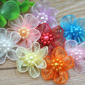 20 pcs U pick Organza Ribbon Flowers Bows w/Beads Appliques Wedding Craft A011