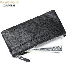 JINBAOLAI Nieuwe Ontwerp Lederen Portemonnee Voor Mannen Mannelijke Clutch Bag Slanke Lederen Portefeuilles Voor IPhone 7 & Kaarthouder Portemonnees