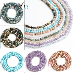 2mm Natural Faceted Quartzs Turquoises Apatite Stone Round Loose Beads For Jewelry Making DIY Bracelet Accessories 15''Inch