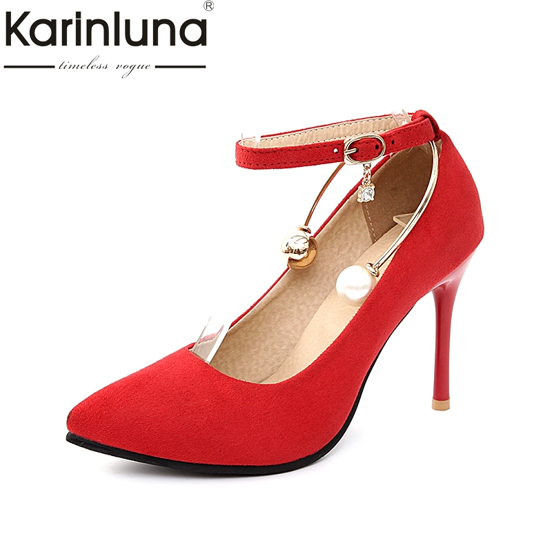 KARINLUNA 2018 plus size 34-43 pointed toe peals wedding shoes women pumps sexy thin high heels ankle strap date woman shoes gzx101206 fashion woman thin high heels pu pump lady plus big size sexy pointed toe shoes woman wedding shoes t strap 10cm 12cm