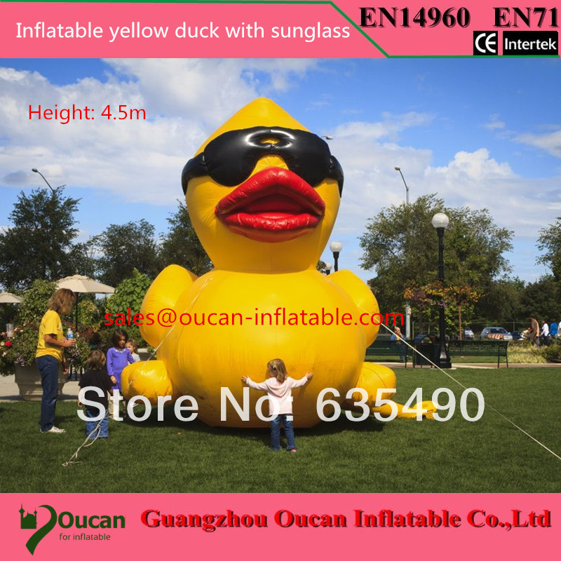 ФОТО 4.5meters height inflatable yellow duck with sunglasses freeshipping by dhl