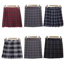 XS-3XL Harajuku 2017 Women Fashion Summer high waist pleated skirt  Wind Cosplay plaid skirt kawaii Female Skirts