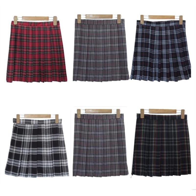 XS-3XL Harajuku 2018 Women Fashion Summer high waist pleated skirt Wind Cosplay plaid skirt kawaii Female Skirts