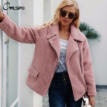 CWLSP Winter Zipper Lambswool Faux Fur Turn-down Collar Overcoat Motorcycle Streetwear casaco feminino inverno QL4132